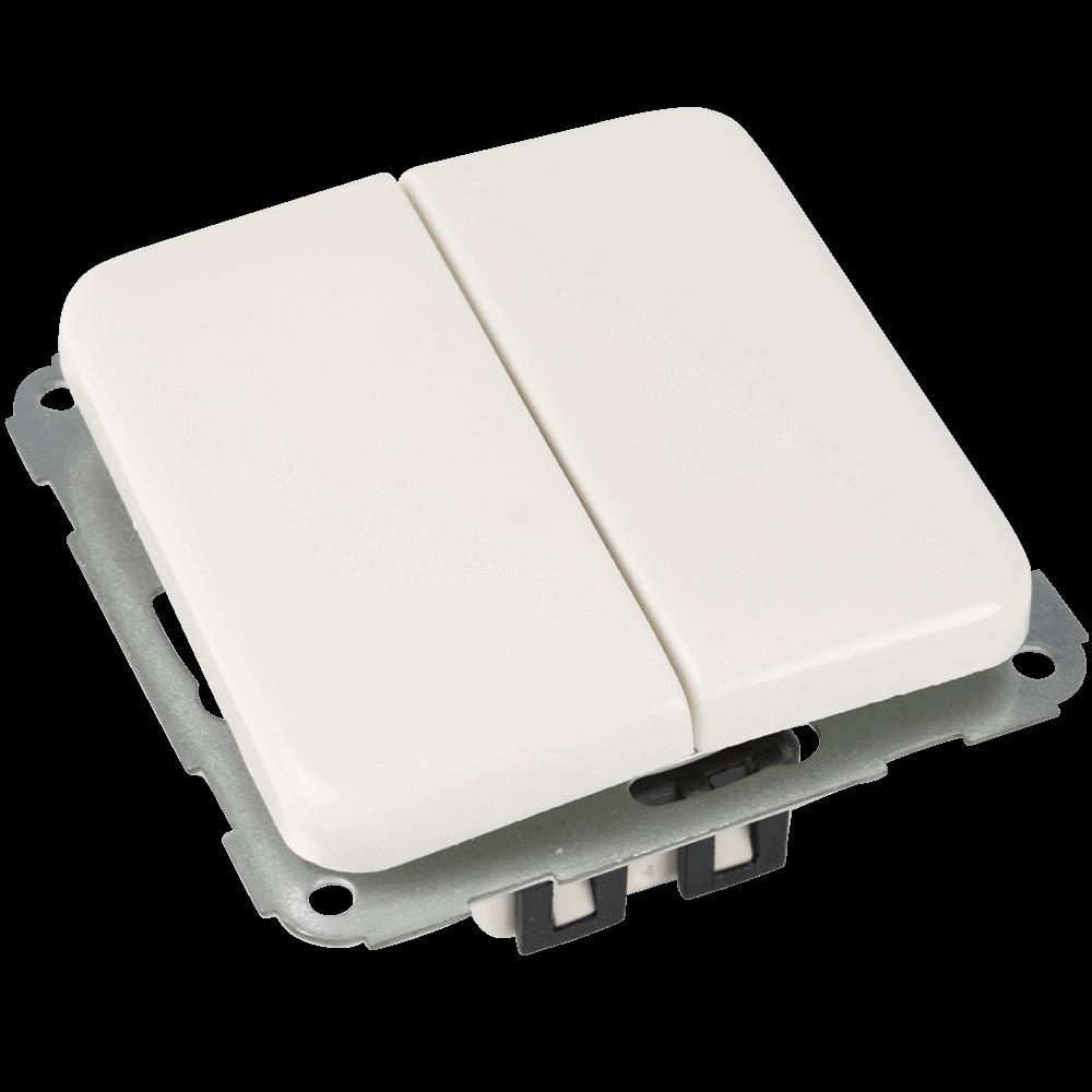 Lichtschalter 2-fach   Doppelwippschalter für 2 Lichtquellen passend für Rahmenserie VEDDER Regina