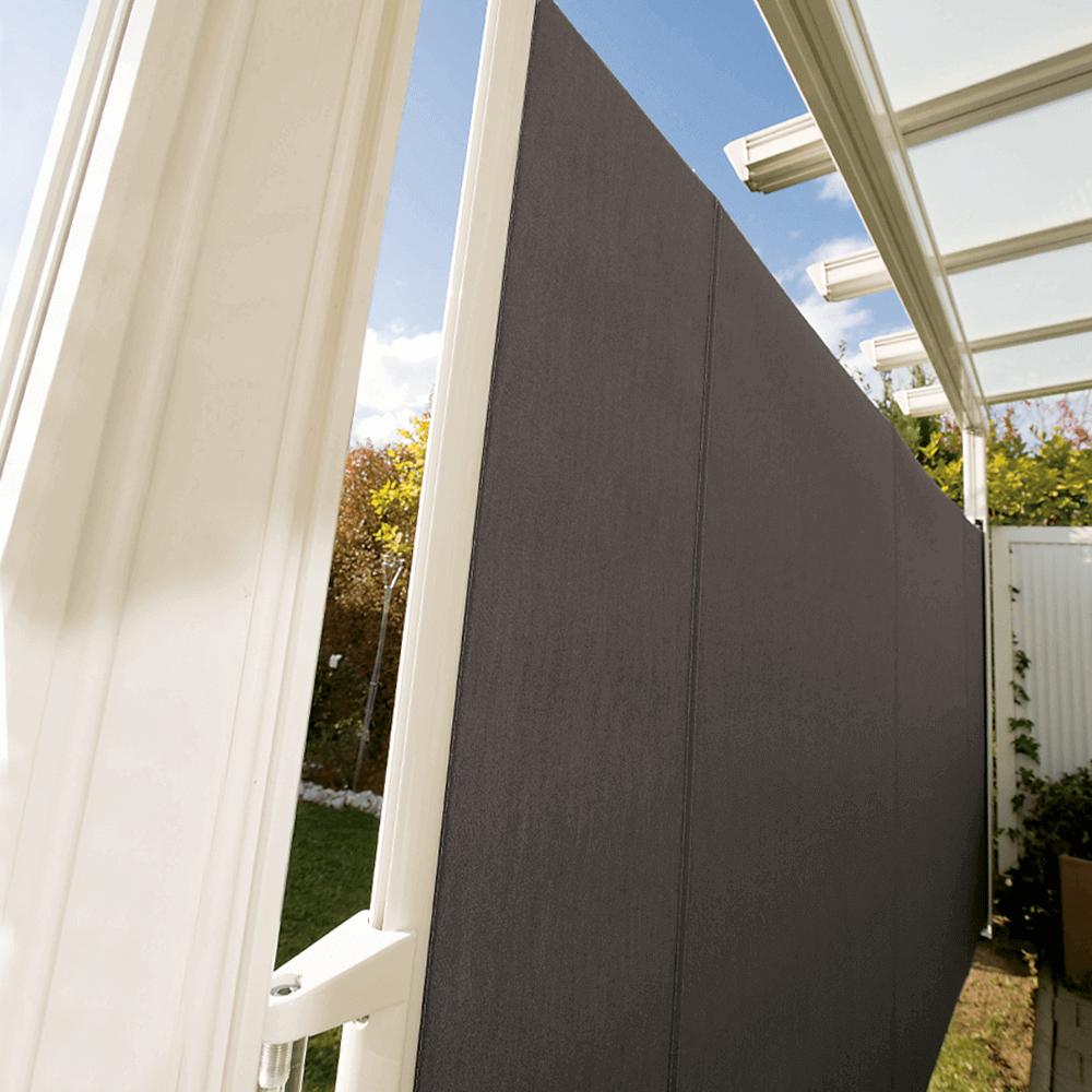 Seitenauszugmarkise   hochwertiger, seitlicher Sonnen- & Sichtschutz zum Ausziehen mit stabilem Gestell