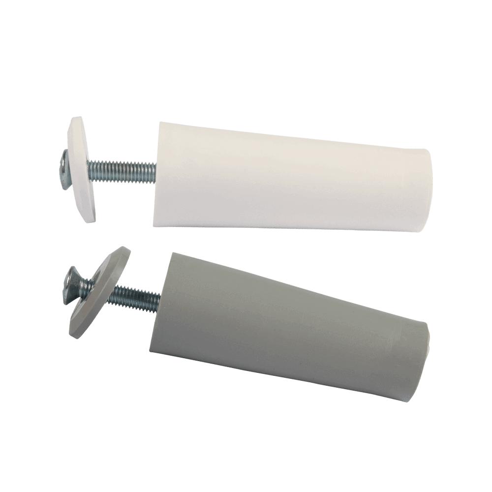 Anschlagstopper GIGANT   auch Anschlagpuffer oder Stopfen genannt, mit 60mm Länge, weiß und grau